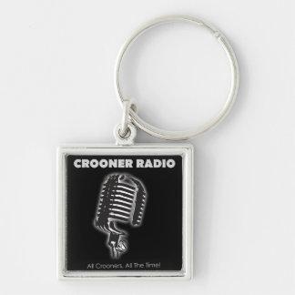Cool Crooner Radio Key Tag Silver-Colored Square Key Ring