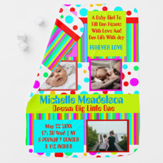 Cool custom colorful birth announcement photo baby blanket