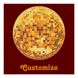 Cool Custom Retro Golden Disco Ball Poster Print