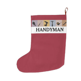 Cool Customized  Handyman Working Men Tools Large Christmas Stocking