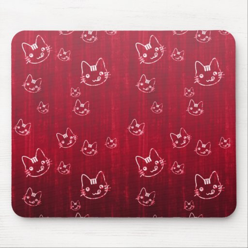 Cool  cute abstract kitty cherry red mousepad