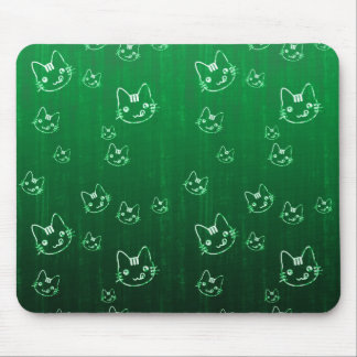 Cool cute abstract kitty green  mousepad