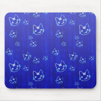 Cool cute abstract kitty indigo blue mousepad