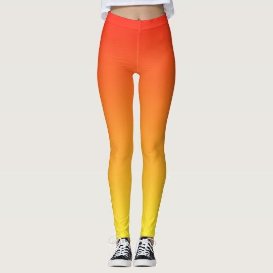 Cool Cute and Fun Gradient Sunrise Orange Leggings