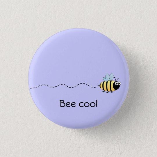 Cool cute bee cartoon pun purple 3 cm