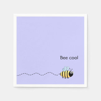 Cool cute bee cartoon pun purple disposable serviette