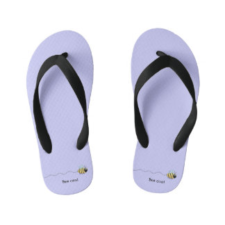 Cool cute bee cartoon pun purple flip flops