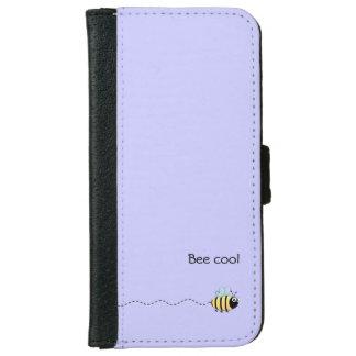 Cool cute bee cartoon pun purple iPhone 6 wallet case