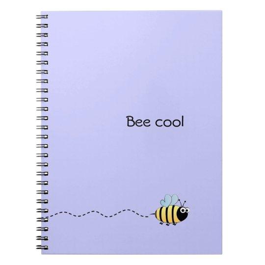 Cool cute bee cartoon pun purple spiral notebook