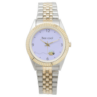 Cool cute bee cartoon pun purple wrist watches
