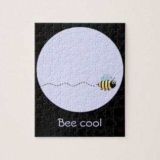 Cool cute bee cartoon purple puzzle