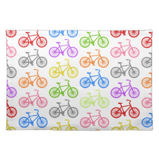 Cool cute bicycle pattern colourful seamless placemat