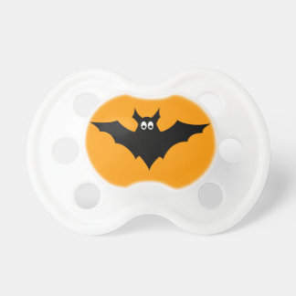 Cool cute Black Flying bat Halloween on Orange Pacifier
