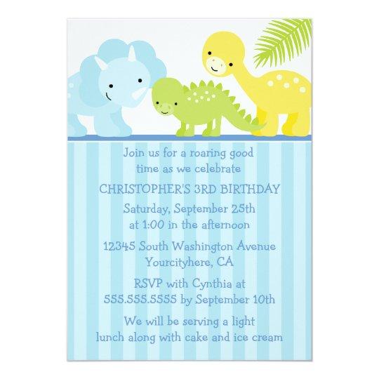 Cool cute boy's dinosaur birthday party invitation