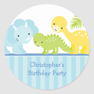 Cool cute boy's dinosaur birthday party stickers