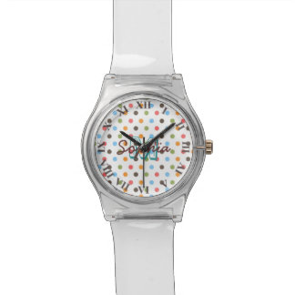 Cool cute colourful trendy monogram polka dots watch