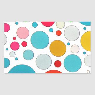 Cool cute different size bubbles and polka dots rectangular sticker