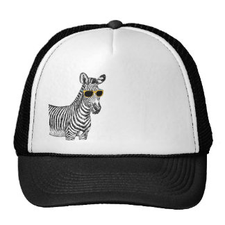 Cool cute funny zebra sketch with  trendy glasses cap