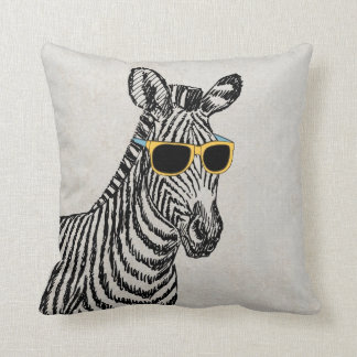 Cool cute funny zebra sketch with trendy glasses cushion