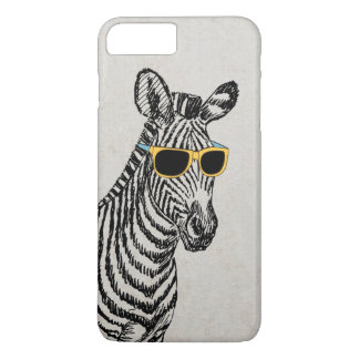 Cool cute funny zebra sketch with trendy glasses iPhone 7 plus case