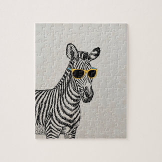Cool cute funny zebra sketch with  trendy glasses jigsaw puzzle