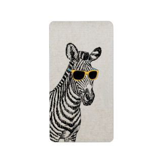 Cool cute funny zebra sketch with trendy glasses label