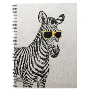 Cool cute funny zebra sketch with  trendy glasses notebooks