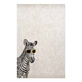Cool cute funny zebra sketch with  trendy glasses stationery paper