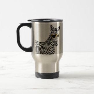 Cool cute funny zebra sketch with  trendy glasses travel mug