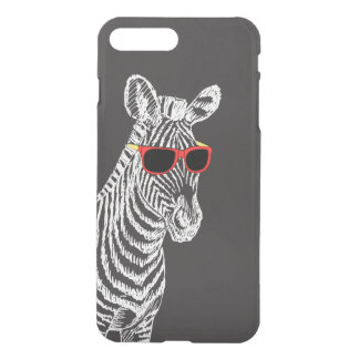 Cool cute funny zebra white sketch with glasses iPhone 8 plus/7 plus case