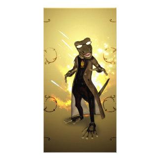 Cool, cute gecko customised photo card