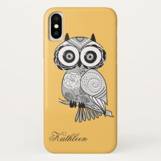 Cool Cute Hipster Retro Groovy Owl Monogram iPhone X Case