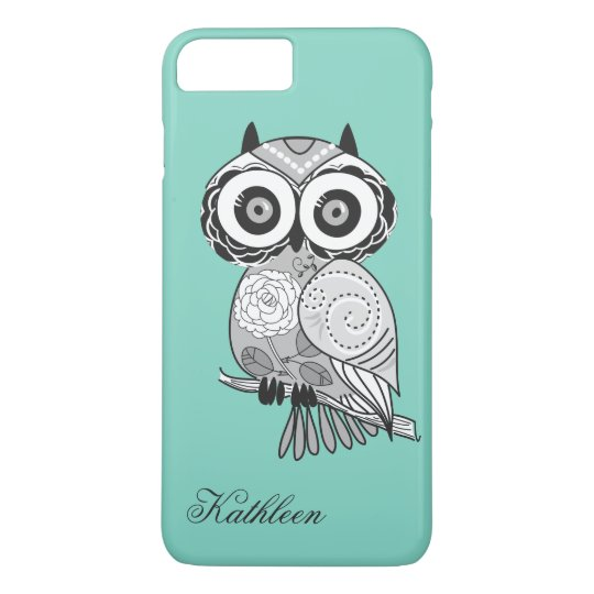 Cool Cute Hipster Vintage Groovy Owl Monogram iPhone