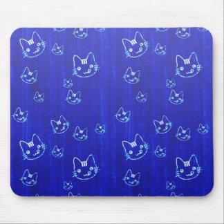 Cool cute japanese cat kitty neko indigo blue mouse pad