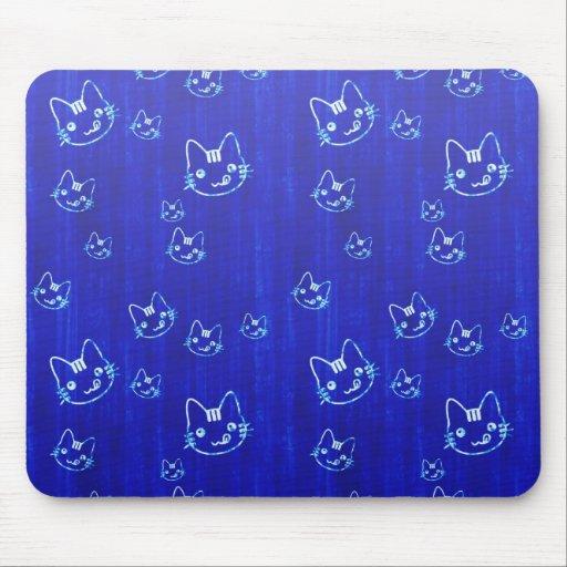 Cool cute japanese cat kitty neko indigo blue mouse pads