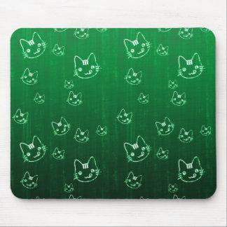 Cool cute japanese green kitty cat neko pattern mouse pad