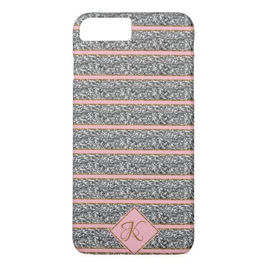 Cool Cute Rose Silver Glitter Straps Monogrammed iPhone 8 Plus/7 Plus Case
