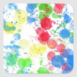 Cool cute trendy colourful splatter watercolours square sticker