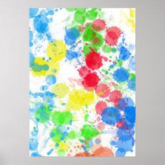 Cool cute trendy colourful splatters watercolours print