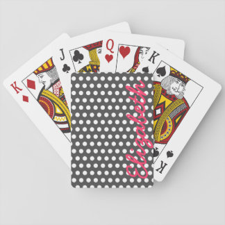 Cool cute trendy girly white polka dots pattern playing cards