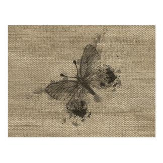 Cool cute trendy grey splatters vintage butterfly postcard