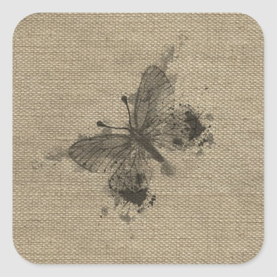 Cool cute trendy grey splatters vintage butterfly square