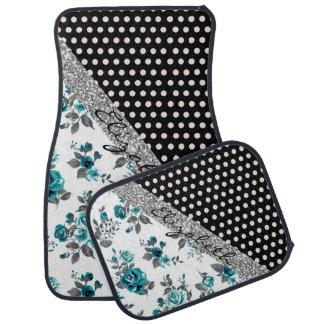Cool cute trendy vintage roses floral polka dots car mat