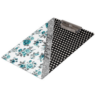 Cool cute trendy vintage roses floral polka dots clipboard