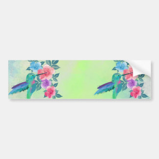 Cool cute trendy  watercolours hummingbird floral bumper sticker