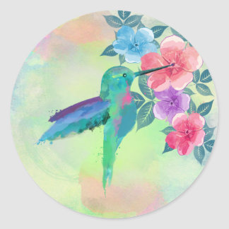 Cool cute trendy  watercolours hummingbird floral classic round sticker