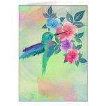 Cool cute trendy  watercolours hummingbird floral greeting card