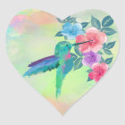 Cool cute trendy  watercolours hummingbird floral heart sticker