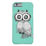 Cool Cute Unique Hipster Groovy Owl Teal Barely There iPhone 6 Case