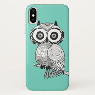 Cool Cute Unique Hipster Groovy Owl Teal iPhone X Case